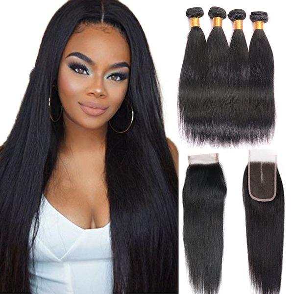7A Grade Peruvian Lace Closure With Bundles 100% Human Hair Remy 4 Bundles Straight Hair Bundles With Closure Natural Color