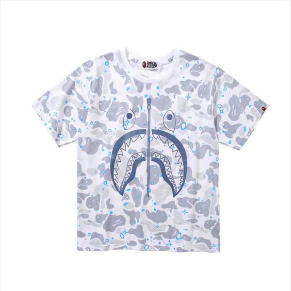 Mens designer t shirts luxury short sleeve new street brand shark printing cotton casual hip hop street couple half sleeve