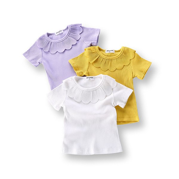 Toddler Infant Tee Kids Baby Girls Princess Ruffles Collar Outfit Clothes Rib Cotton Short Sleeve T Shirt Blouse Casual Clothing