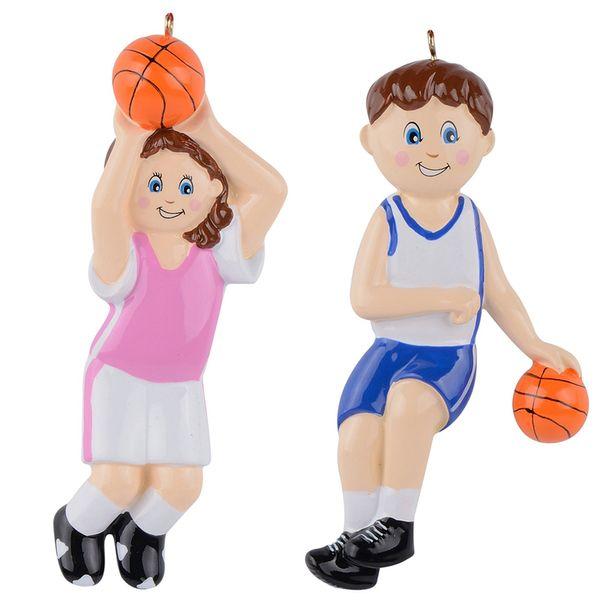 Maxora Basketball Boy Girl Polyresin Deportes Brillantes Adornos de Navidad Regalos personalizados o para la decoración del hogar