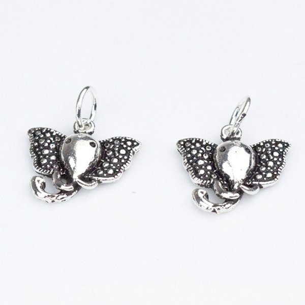 100% 925 Sterling Silver Vintage Craft Elephant Charms 14mm Decoration Bracelets/Necklace Pendants Findings DIY Jewelry Making
