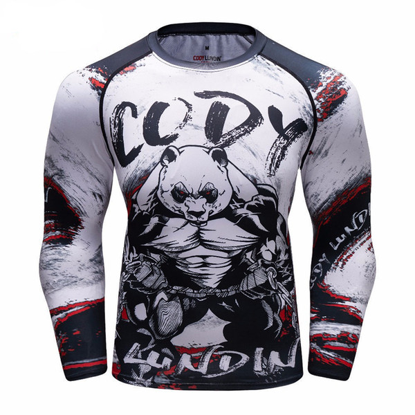 cf9acfe6f1a705 Panda 3d Langarm Compression T-shirt Schnelltrocknendes T-Shirt für Herren  Mens Mma T