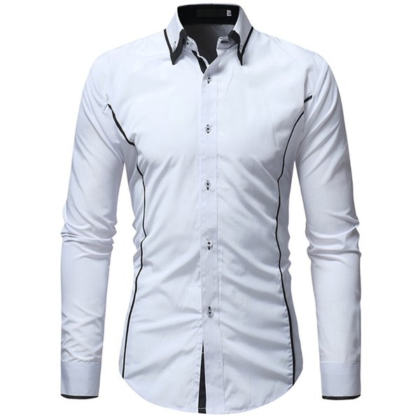 Patchwork Style Casual Shirt Men 2019 Hot Sale Male Slim Blouse Business Man Long Sleeve Shirts Fashion Streetwear Clothes Loose