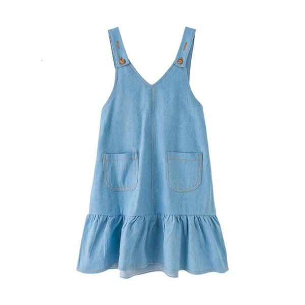 Menina fina Novo 2019 Crianças Jumper de Verão Crianças Jeans Babados Meninas Algodão Casual Suspensórios da Criança Vestido Fofo, # 3879MX190912MX190912