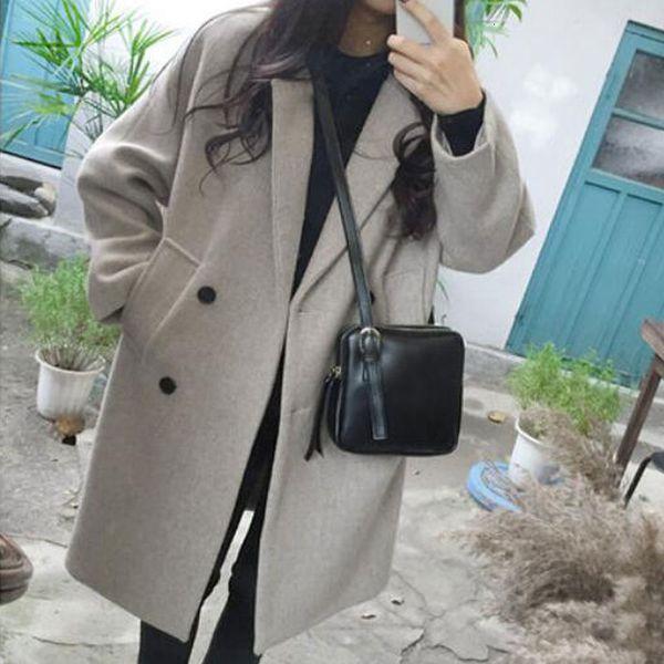 Luzuzi Новое пальто из тонкой шерсти с длинным рукавом с отложным воротником и пиджаком Повседневная осень-зима элегантное пальто Z5721 S19907