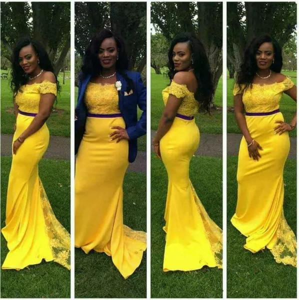 Moda Amarillo Brillante Fuera del Hombro 2019 Sirena Vestidos de Baile Vintage Corte de Tren Largo Vestido de Alfombra Roja Vestido De Festa