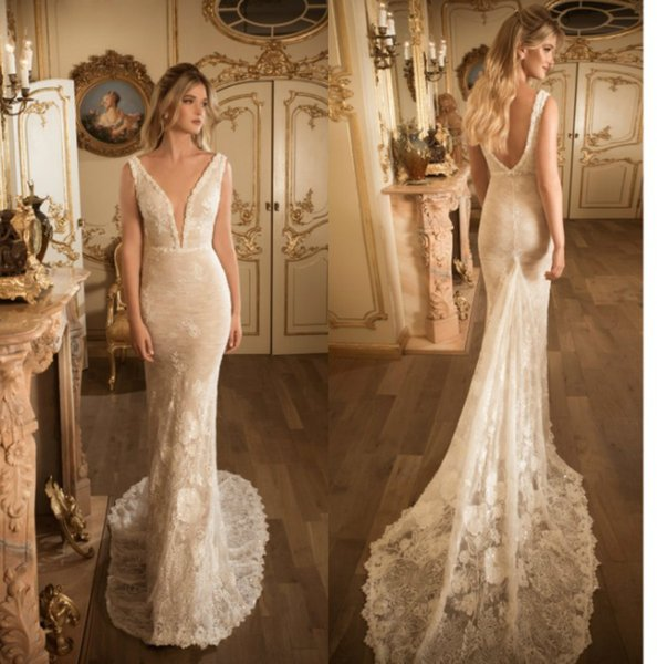 2019 julie vino mermaid wedding dresses v neck lace applique bridal gowns backless sweep train backless elegant wedding dress custom