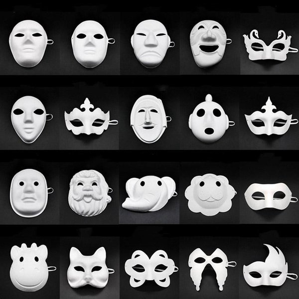 Papper DIY Party Mask Creative Painting Halloween Chirstmas Party Mask Children Women Men DIY Half Face Full Face Masks AN2718