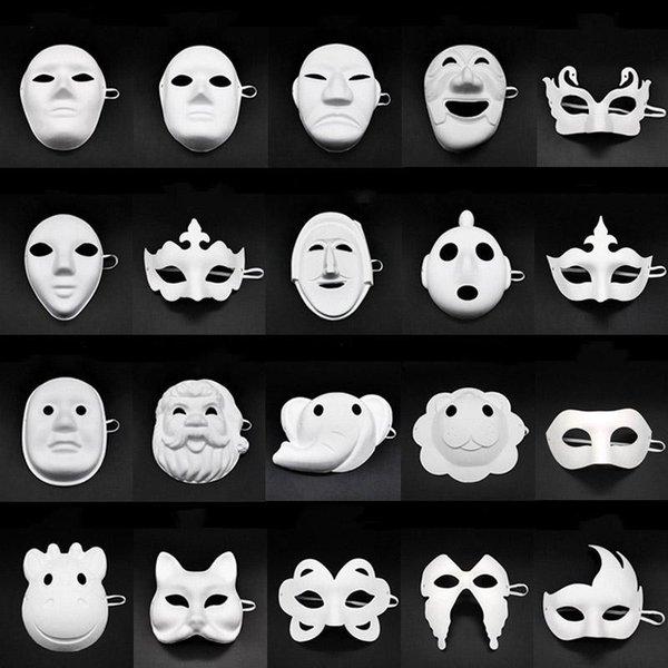 Papper DIY Partei Maske Kreative Malerei Halloween Chirstmas Partei Kinder Frauen Männer DIY Half Face Vollmasken AN2718 Maske