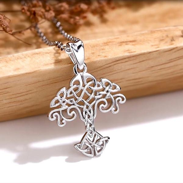 Angelo Caller 925 Silver Tree della Collana vita con Celtics nodo Fashion Design Silver Charm Albero gioielli Famiglia