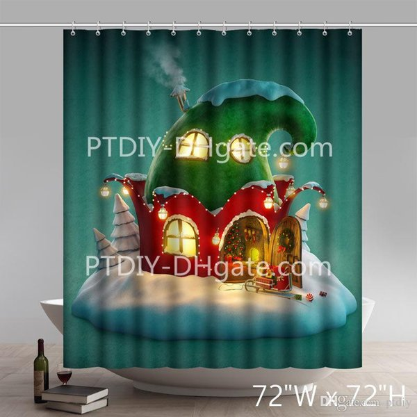 Professional DIY Unique Funny Print Christmas Gift Christmas Fairy House Tree Santa Claus And Reindeer Waterproof Kitchen Shower Curtain