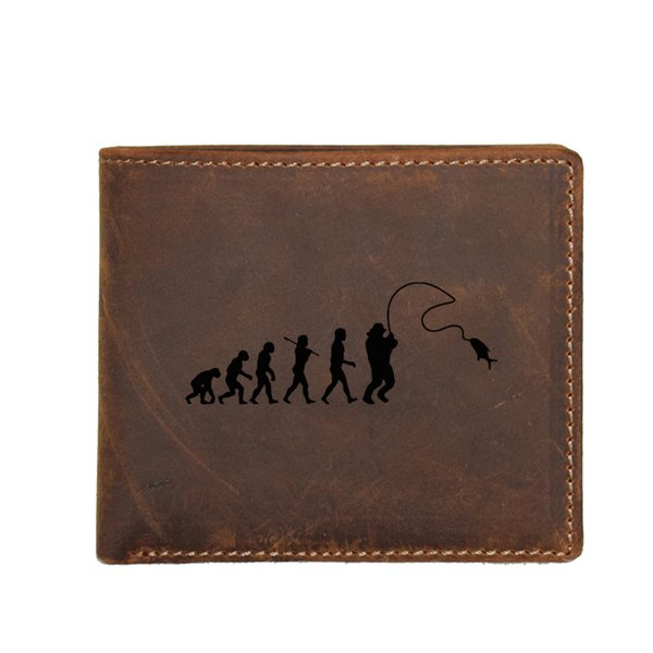Engraved Picture FISHING Evolution Men Wallet FRID Card Holders Purse Genuine Leather Coin Pocket Bags Men Wallet