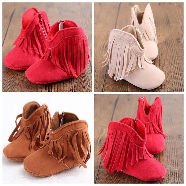 Zapatos de bebé Botas de flecos para bebés Zapatos de bebés recién nacidos Zapatos para niños pequeños Caminantes de princesa Cuna de fondo suave Botines