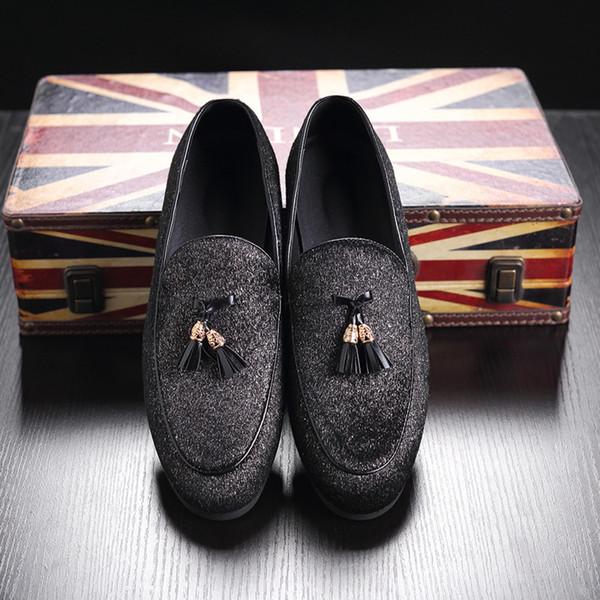 Artı Boyutu Erkekler Deri Elbise Ayakkabı Püskül Tasarımcı Erkek Iş Resmi Elbise ayakkabı Loafer'lar Erkekler Flats Parti Düğün Ayakkabı Üzerinde Kayma Q-559