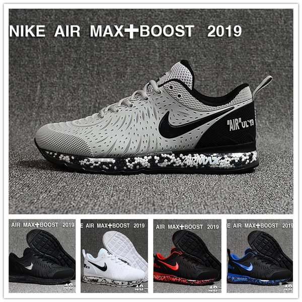 2019 Mens designer off air boost Drop Plastics Running Shoes cushion womens Black White sports Casual sneakers with box hwdsmax01