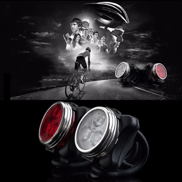 Bicicleta Bicicleta 3 DIODO EMISSOR de Luz Farol Traseiro Taillight Ciclismo Bateria Recarregável Lâmpada Dianteira Da Bicicleta Com Cabo de Carregamento USB Venda Quente