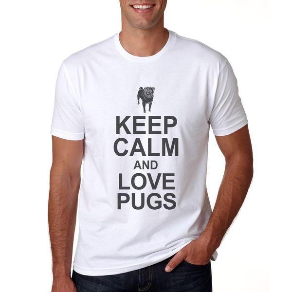 Keep Calm & Love Pugs - Mens/Womens T-Shirt Ideal white black trousers tshirt suit hat pink VINTAGE Classic t-shirt