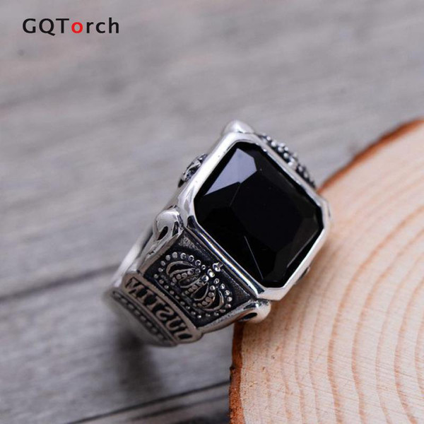 jewelry ring display storage case 100% Real Pure 925 Sterling Silver Black Onyx Rings For Men Retro Hexagram Crown Engraved Square Natural