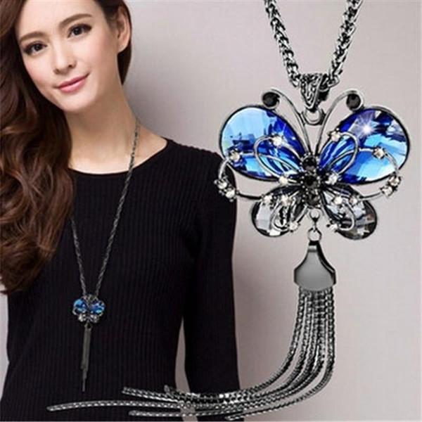 2018 New Fashion Women Long Chain Butterfly Necklace Animal Blue Crystal Jewelry Butterfly Choker Necklace Long Tassel Pendant