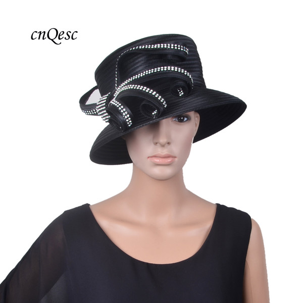 NEW Black Ladies formal dress hat church hat bridal fascinator with Rhinestones for Kentucky Derby,wedding,mother of the bride