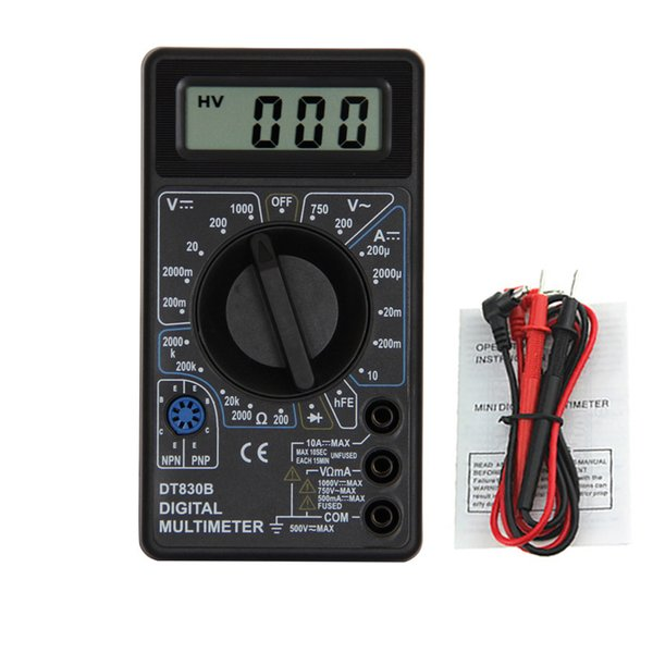 1Pcs DT830B AC/DC LCD Digital Multimeter 750/1000V Voltmeter Ammeter Ohm Tester High Safety Handheld Meter Digital Multimeter
