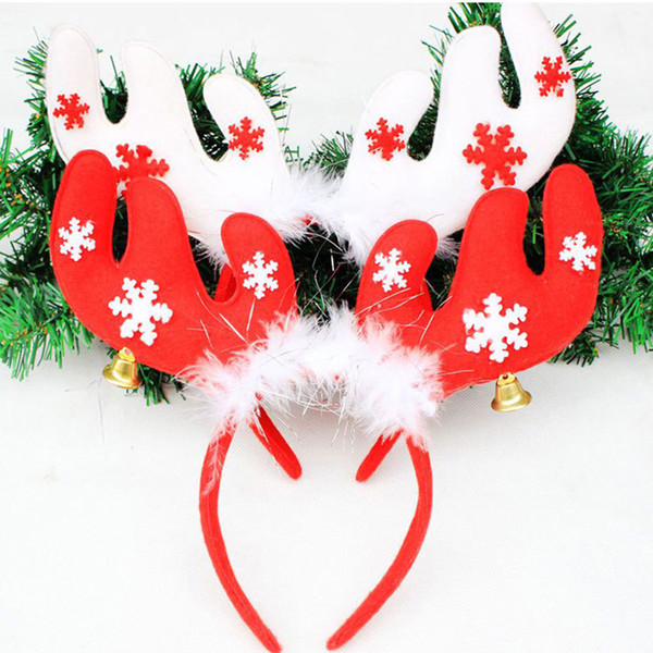 1PC Cute Christmas Decorations Red/White/Coffee Hair Hoop Ornaments Child Kids Girl Headwears Festival Party Ornaments Supplies