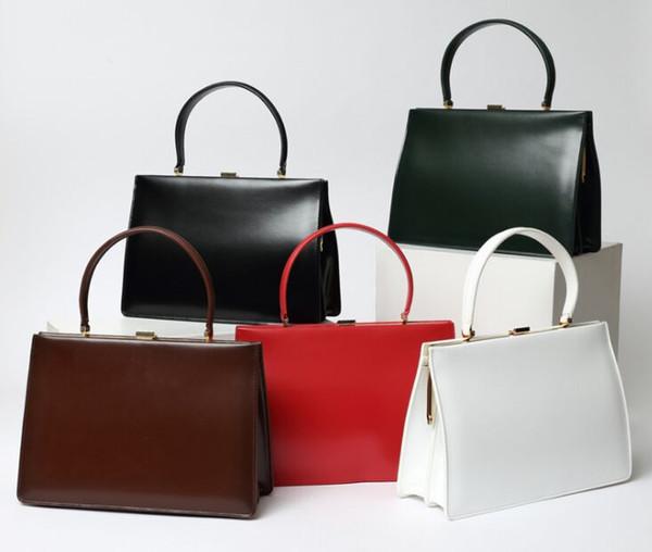 2019 newest women Street beat Vintage box real leather cowhide handbag big clip bag totes bags briefcase