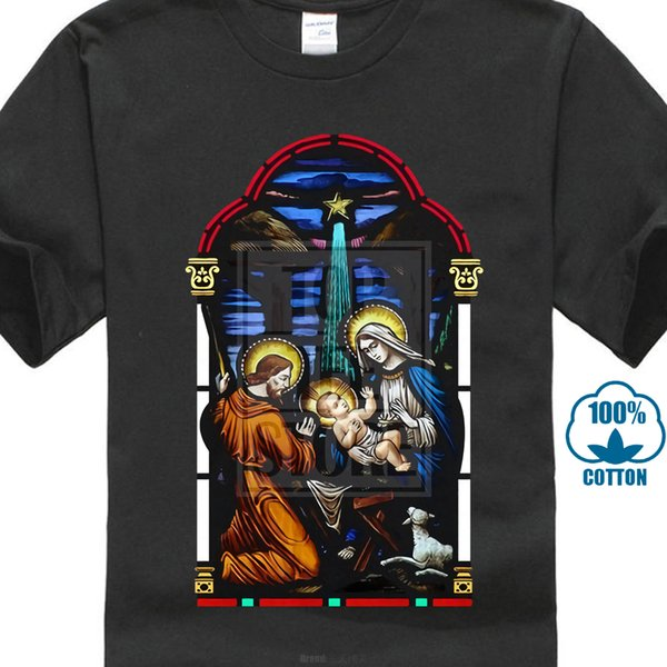 Stained Glass T Shirt Christ In Manger Christmas Catholic Jesus S 5xl 2019 Short Sleeve Cotton T Shirts Man Wholesale Discount Animal