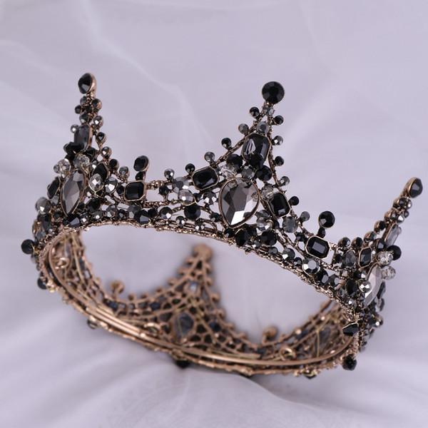 Schwarze Abendparty Tiara klare Kristalle österreichische König Königin Krone Hochzeit Braut Kronen Kostüm Art Deco Prinzessin Tiaras Haarspange