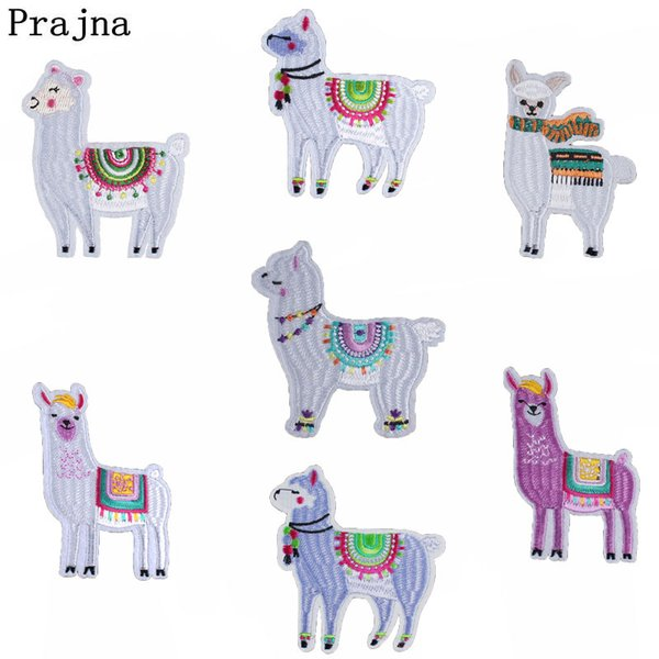 Prajna Cartoon Mens Alpaca Patches For Clothing Kids Alpaca Costume Embroidered Iron On Cute Applique Patch T-shirt DIY Apparel
