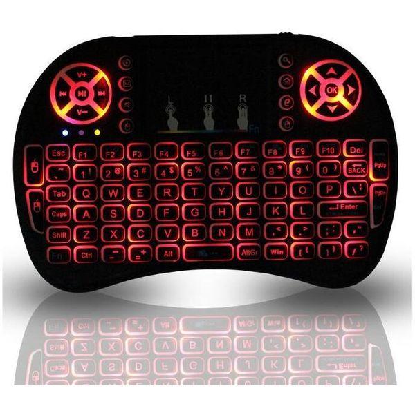 Rii i8 Retroiluminado Remote Air Mouse Mini teclado con panel táctil Retroiluminación Control inalámbrico para Android Smart TV Box MXQ M8S X96 T95 X92 HTPC PS3