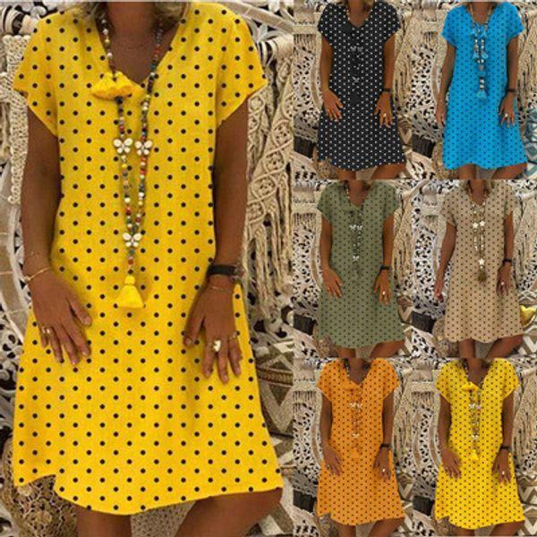 Ladies Summer New Explosion Casual T-Shirt Polka Dot Print Short Sleeve Dress Casual Turtleneck Midi Dress