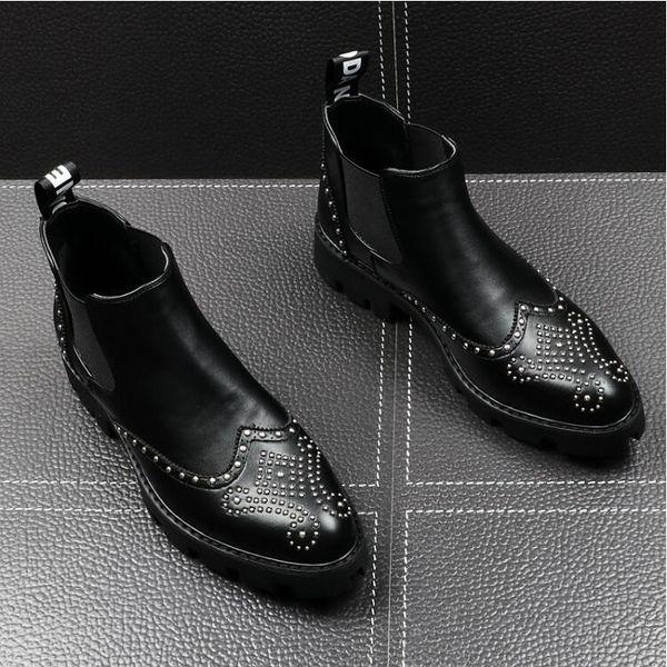 NEW style British Design Men Casual Shoes Black Leather Men Rivet Party Wedding Shoes Ankle Boots Male Low Heels Men Boots H403