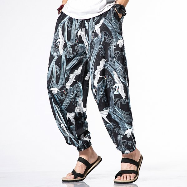 Men's brand harem pants personality Japanese style crane totem printing 2019 summer thin section loose casual pants black white