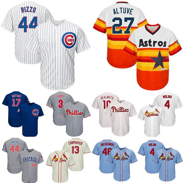 online store 989d8 12170 2019 2019 Mens Blue Jersey 46 Goldschmidt 44 Rizzo Chicago 17 Bryant Cubs  13 Carpenter 27 Altuve 3 Harper 10 Realmuto 4 Molina Cool Jersey From ...
