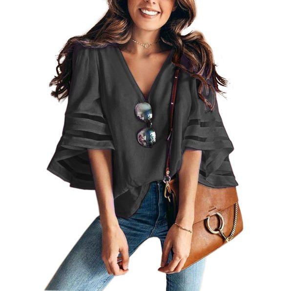 Женская дизайнерская футболка мужская одежда женская дизайнерская футболка Свободная сетка сращивания V-образным вырезом Белл рукавом Твердые топ футболки прямая поставка