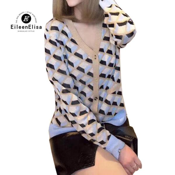 Maglioni Cardigan Donna 2019 Autunno Primavera Alta qualità da donna scollo a V maglioni cardigan moda