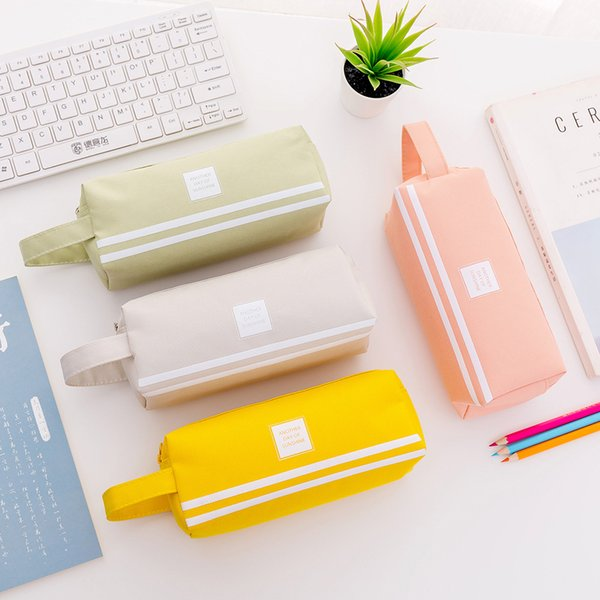 Candy color Portable pencil case Cute Large Capacity pen bag box Stationery pouch gift for girls material school supplies