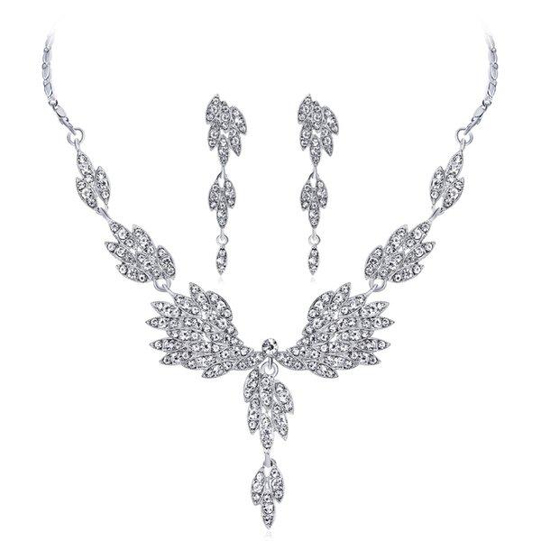 Trend Rhinestone Wedding Bridal Jewelry Sets Femme Angel Wings Pendants Necklace Long Big Drop Earrings For Women Jewelry