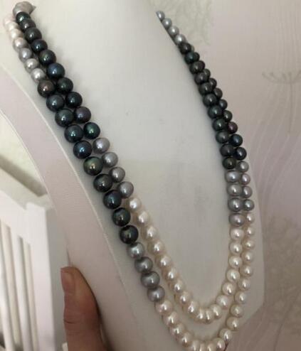 Livraison Gratuite 8-11mm multicolore perle ronde collier48inch 14k