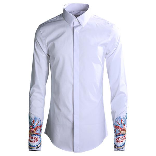 Classic Cuff Print Shirt Men 2019 High Quality Business Male Cotton Dress Shirts Turn-down Collar Full Sleeve Camisas Masculina