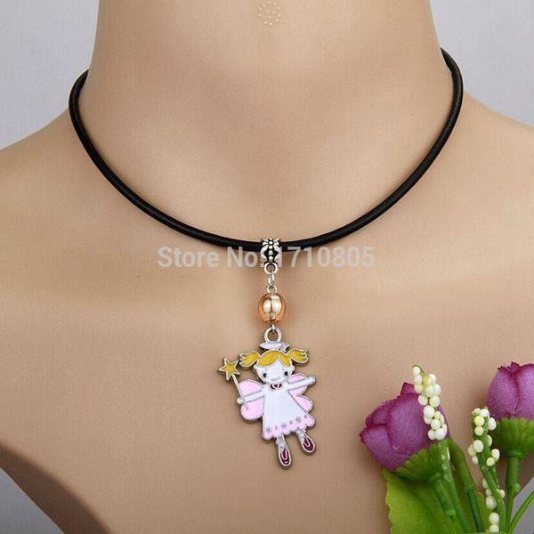 10pcs/lot Zinc Alloy Drop Glaze Magic Angel Necklace Multi Glass Bead Charm Pendant Leather Rope Necklace Jewelry Valentine's Day Present
