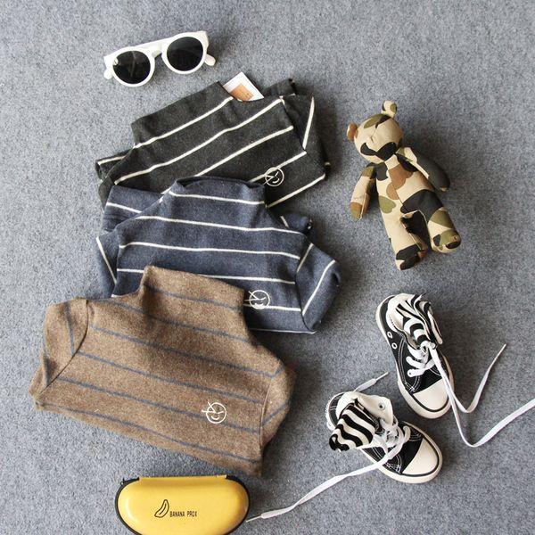 Only Underwear 1pc New 2018 Autumn Striped Half High Collar Kids Long Sleeve Fashion T Shirt Boys Sweater J190529