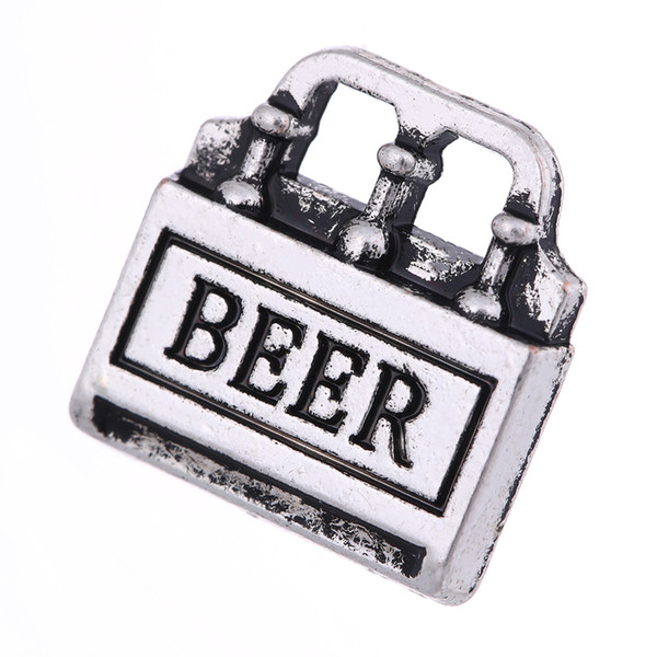 lemegeton Fashion Alloy Beer Box Charms Beer Bottles DIY Charms Letter Pendant for Keychain Bracelet Making