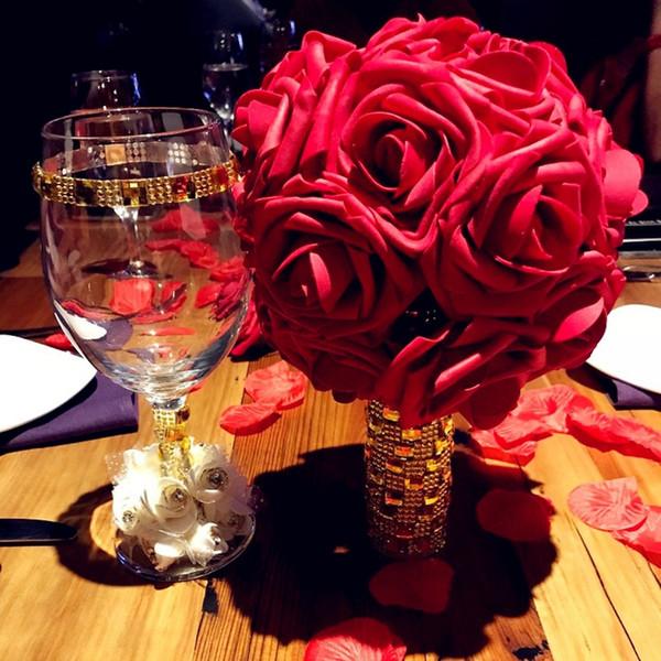 10 teste 5 teste 8 cm artificiale PE schiuma rosa fiori sposa damigella d'onore bouquet decorazione della casa di nozze scrapbook forniture fai da te