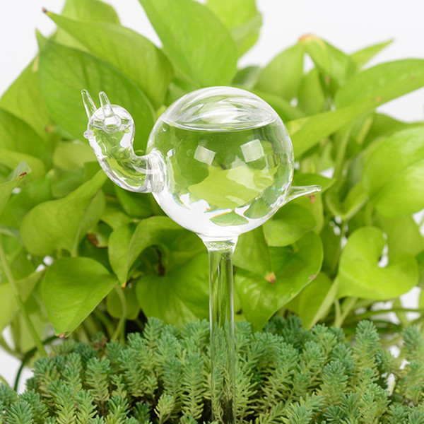top popular 10pcs MOQ Clear Glass Self Watering Globe Bulb, Cute Transparent Bird Snail Mushroom Star Shaped Holiday Automatic Watering Dispenser Device 2021