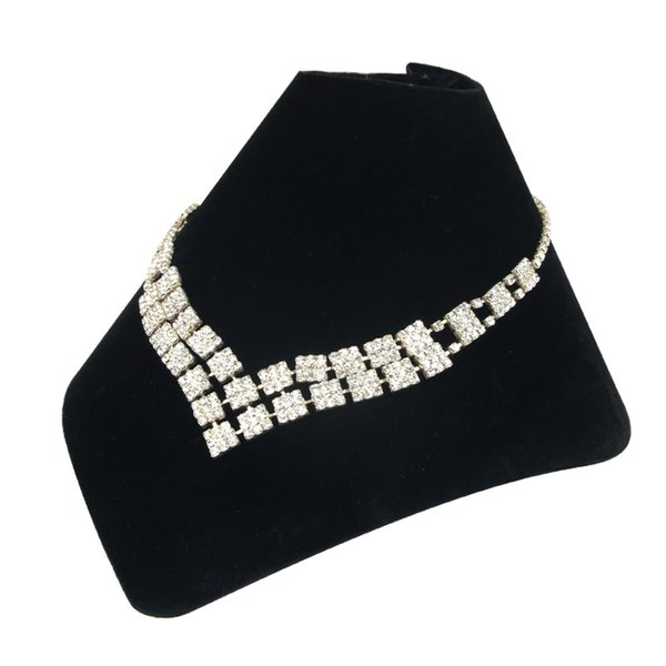 Black Velvet Neck Shape Jewelry Display Stand for Jewellery Store Pendant Stand Holder Necklace Display Stand Organizer