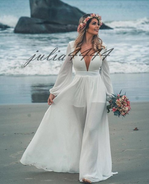 2019 Bohemian Wedding Dresses V Neck Long Sleeve Sweep Train Beach Boho Garden Country Bridal Gowns robe de mariée Plus Size