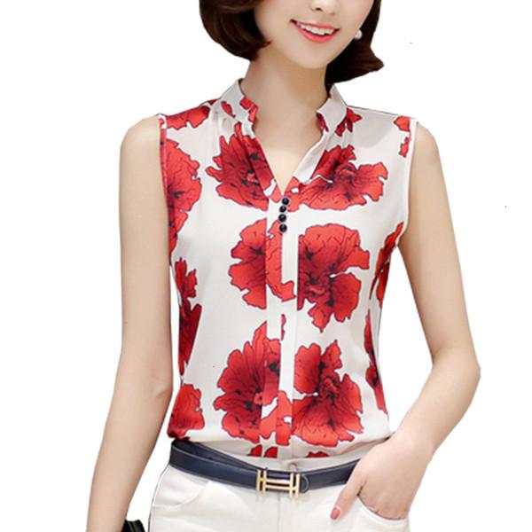 Signore Designer Tops chiffon camicette camicette delle donne ed elegante senza maniche Fiore farfalla Plaid Stampa Shirt da Donna femminile Abbigliamento