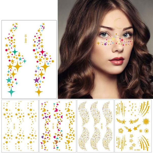 1 Geçici Dövme Yüz Sticker Metalik Sahte Dövme Flaş Tatto Su Geçirmez Küçük Vücut Sanatı Kadın 10 Tasarımlar